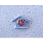 floral birdhosue-blue